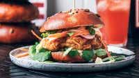 Buttermilk Fried Chicken & Honey Mustard Zucchini Slaw Burger