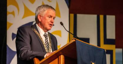 Marlborough Mayor John Leggett, pictured speaking at the Marlborough Boys' College earlier this month.