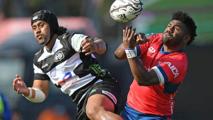 Neria Fomai of Hawke's Bay and Timoci Tavatavanawai of Tasman contest a high ball during the Ranfurly Shield at McLean Park in Napier on Saturday.