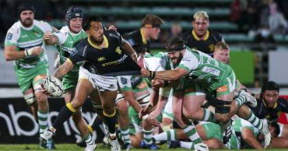 Pepesana Patafilo looks to offload during Wellington's win over Manawatū in Palmerston North on Saturday night.