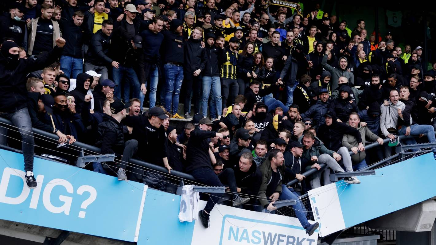 Fans celebrate as part of a stand-down at NEC Nijmegen