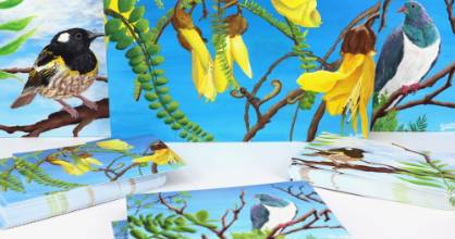 Sophia Meldrum has turned her images from a design course into postcards for sale at Zealandia.