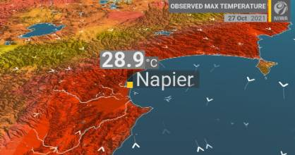 Napier's second highest temperature on record for this early in spring was recorded on Wednesday October 27, 2021.