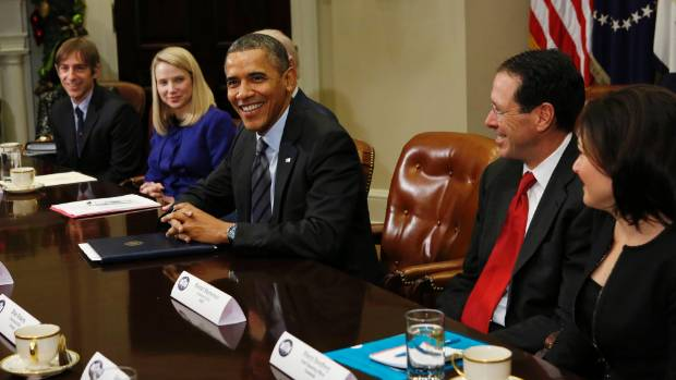 HIGH STAKES: Zynga chairman Mark Pincus, Yahoo chief executive Marissa Mayer and US President Barack Obama next to  ...