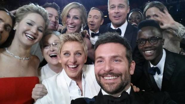 ELLEN AND FRIENDS: Ellen DeGeneres, centre, with actors, front row from left: Jared Leto, Jennifer Lawrence, Meryl ...