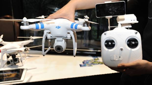 EYES IN THE SKY: A DJI Phantom 2 aerial system drone with controller.