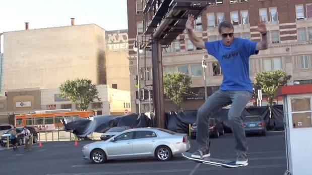 GREAT SCOTT: Pro skater Tony Hawk as seen in the HUVr video.