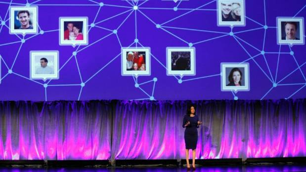 CONNECTED: Facebook Chief Operating Officer Sheryl Sandberg delivers a keynote address at Facebook's fMC global event ...