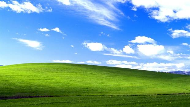 WINDOWS CLASSIC: The iconic default Windows XP background picture.