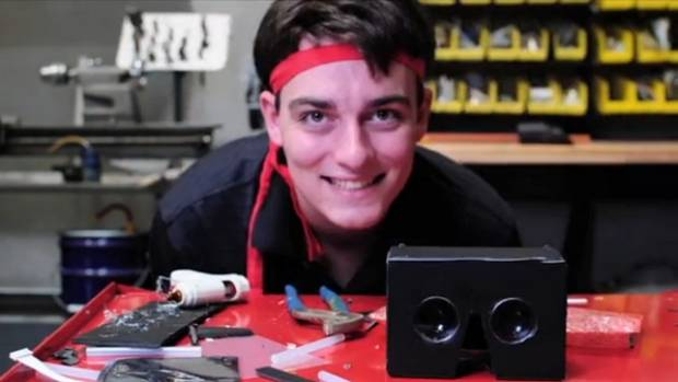 FULL OF IDEAS: A 21-year-old Palmer Luckey with an early prototype of the Oculus Rift.