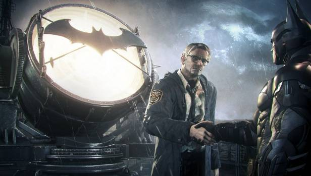 SHAVED: Batman reconnects with long-time ally Commissioner James Gordon in Arkham Knight.