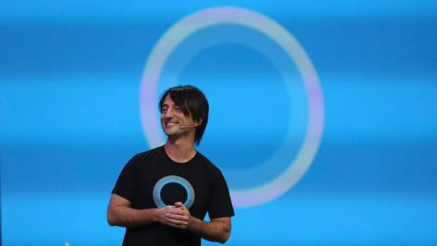 HELLO, COMPUTER: Joe Belfiore, vice president of the operating system group at Microsoft, introduces Cortana, included ...