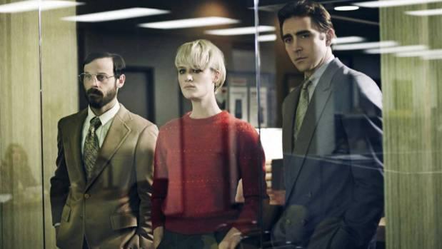 BOOT UP: Scoot McNairy as Gordon Clark, Mackenzie Davis as Cameron Howe and Lee Pace as Joe MacMillan, dramatise the ...