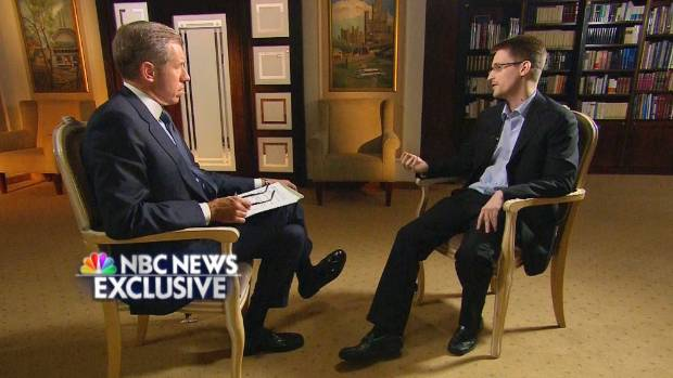 SNOW DAY: Brian Williams  interviews former defence contractor Edward Snowden in Moscow.