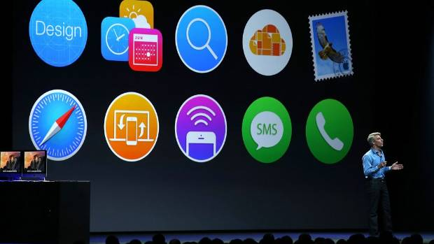 COSMETIC CHANGES: Apple's Craig Federighi shows off some familiar-looking iconography at the Apple Developers Conference ...