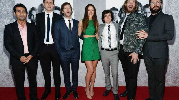 IT CROWD: The cast of HBO's Silicon Valley, Kumail Nanjiani, Zack Woods, Thomas Middleditch, Amanda Crew, Josh Brener, ...