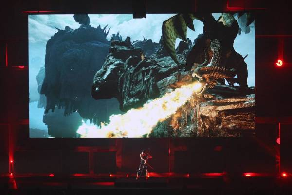 A cellist performs during a presentation of Dragon Age: Inquisition EA World Premiere: E3 2014 Preview press conference.