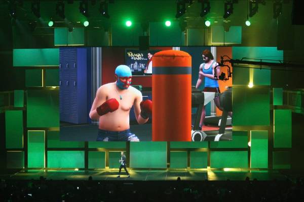 A scene from The Sims 4 at the EA World Premiere: E3 2014 Preview press conference.