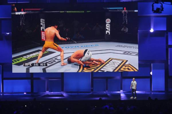 A scene from EA Sports UFC is given at the EA World Premiere: E3 2014 Preview press conference at the Shrine Auditorium ...