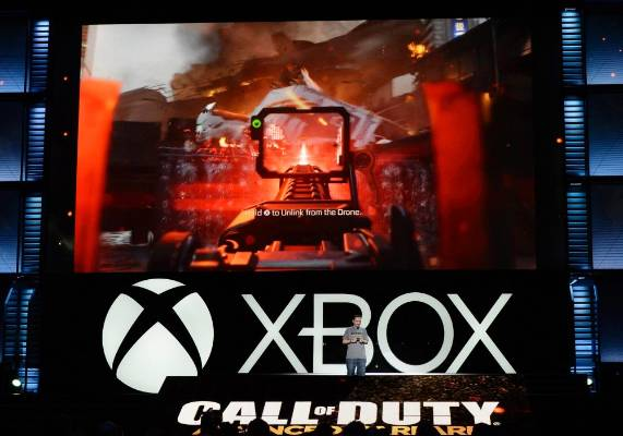 A scene from Call of Duty: Advanced Warfare is demonstrated at the Xbox E3 Media Briefing.
