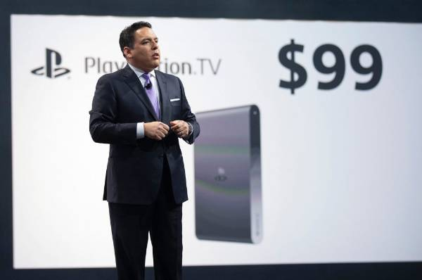 President and CEO of Sony Computer Entertainment America, Shawn Layden presents the PlayStation TV before the opening ...