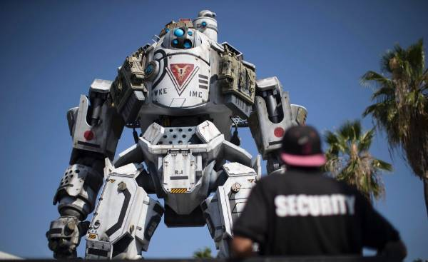 A mock Titan outside the the Electronic Entertainment Expo in Los Angeles.