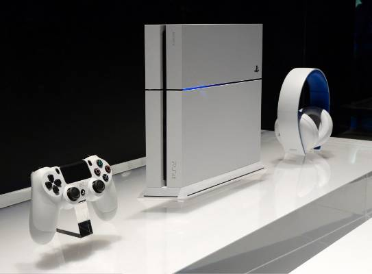 A white Sony Playstation 4 is on display at the 2014 Electronic Entertainment Expo.