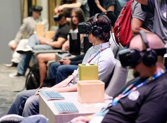 Oculus Rift virtual reality headsets in use at the 2014 Electronic Entertainment Expo.