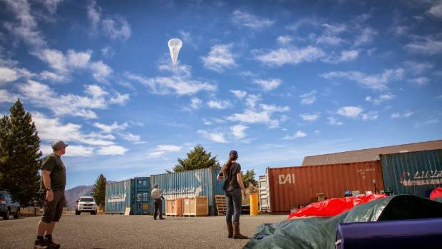 Google's Loon balloon is launched from Lake Tekapo in December 2013.