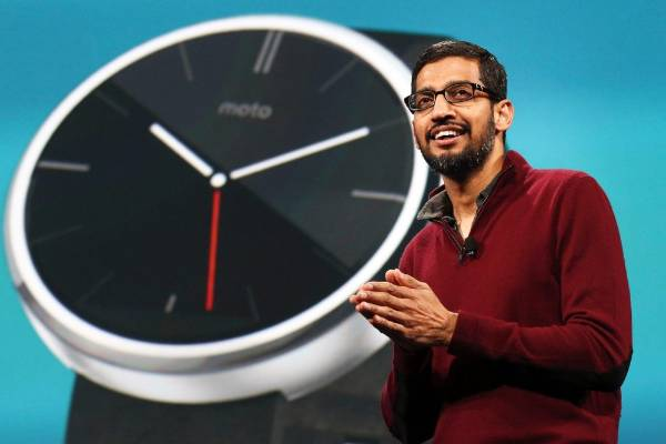 Sundar Pichai, Google's senior vice president of Android, Chrome and Apps, speaks about wearables during his keynote ...