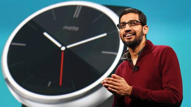 ABOUT TIME: Sundar Pichai, Google's senior vice president of Android, Chrome and Apps, speaks about wearables during his ...