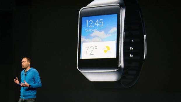 WATCHING THE CLOCK: David Singleton, director of engineering for Android, announces the new Samsung Android Wear ...