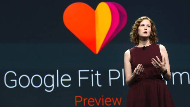RUN PROGRAM: Ellie Powers announces the new Google Fit development platform at the Google I/O developers conference in ...