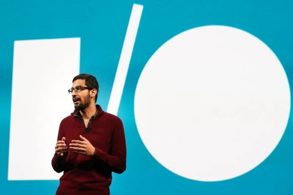 Sundar Pichai, Google's senior vice president of Android, Chrome and Apps, speaks during his keynote address at the ...
