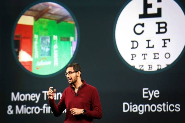 Sundar Pichai, Google's senior vice president of Android, Chrome and Apps, speaks during his keynote speech at the ...