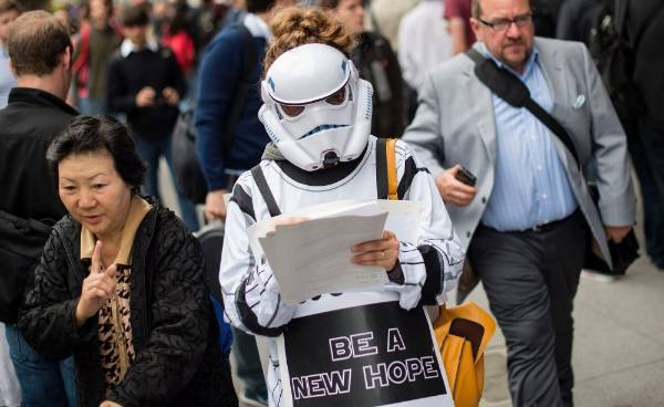 Dressed in Star Wars garb, Shandra Bernath-Plaisted protests outside the Google I/O developers conference in San Francisco.