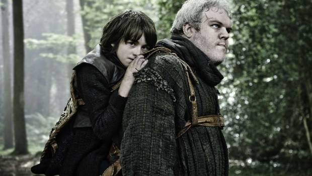 YO: Issac Hempsted Wright as Bran Stark and Kristian Narin as Hodor in Game of Thrones.
