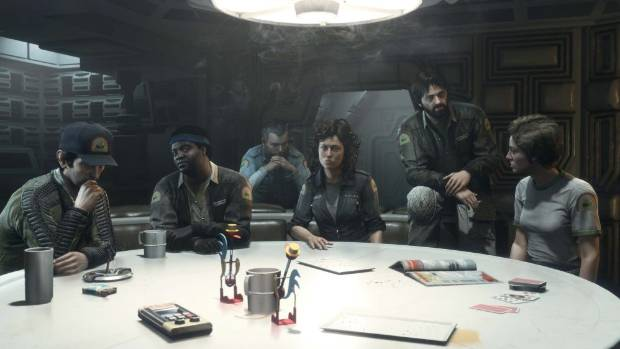 RESURRECTION: Sigourney Weaver returns as Ripley in Alien: Isolation, surrounded by her fellow cast members as the crew ...