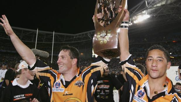 Benji Marshall celebrates Wests Tigers' premiership win in 2005.