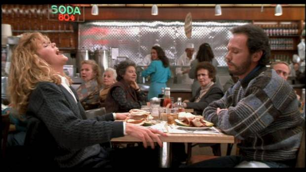 Meg Ryan fakes an orgasm in a deli with Crystal in When Harry Met Sally.