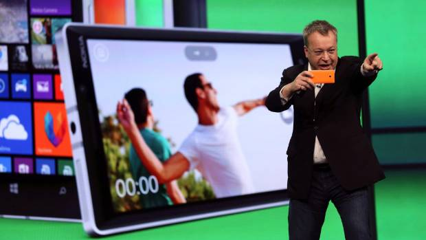SELFIE: Stephen Elop introducing the Nokia Lumia 930 mobile phone in April.