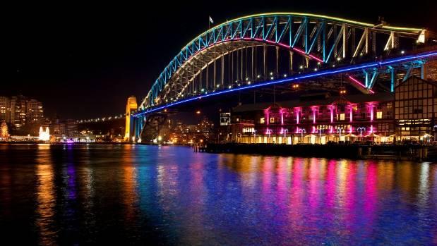 The Harbour Bridge during last year's Vivid light festival.