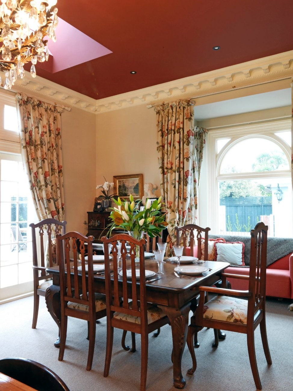 A Formal Dining Room In Christchurch Country Villa The Table Came From An Old Monastery Deep Red Ceiling With Skylight And Glittering